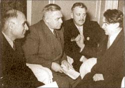 Ираклий Абашидзе, Вилис Лацис, Сергей Михалков и Борис Полевой. 1950 год; Яков РЮМКИН