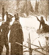 Дуэль Пушкина с Дантесом. Н. Шестопалов. 1929 г.