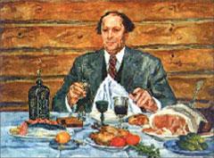 Пётр Кончаловский. А.Н. Толстой в гостях у художника, 1941