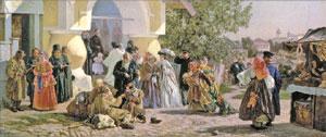 Александр Морозов. Выход из церкви в Пскове, 1864 (фрагмент)